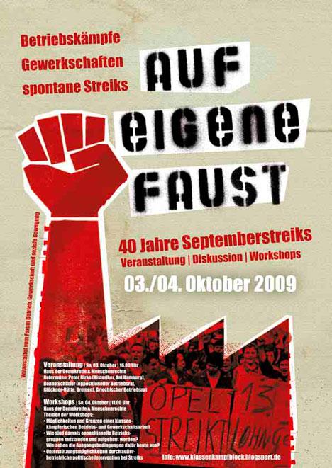 Plakat zu Arbeitskampf auf eigene Faust